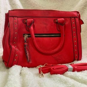 Handbags - Red Faux Leather Studded Purse